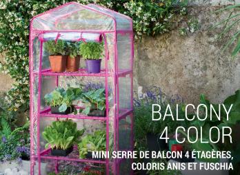 balcony 4 color mini serre de balcon 4 tag res coloris anis et fuschia nortene. Black Bedroom Furniture Sets. Home Design Ideas