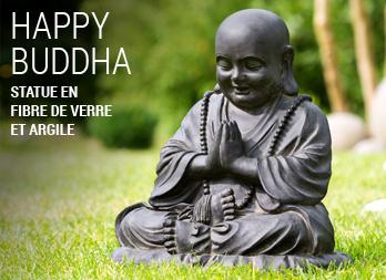 Statue en fibre de verre et argile - Statue bouddha exterieur pour jardin ...