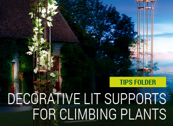 Decorative lit supports for climbing plants