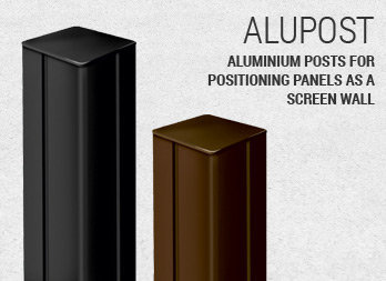 Aluminium posts for positioning panels as a screen wall