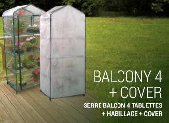Serre balcon 4 tablettes + habillage + cover