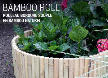 Rouleau bordure souple en bambou naturel