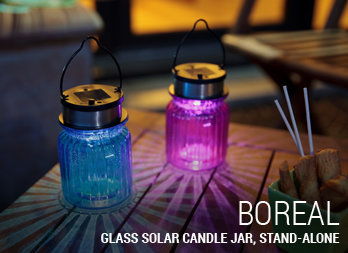 Glass solar candle jar, stand-alone