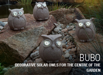 Decorative solar owls for the centre of the garden