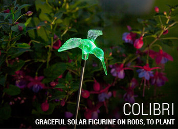 Graceful solar figurines on rods, to plant