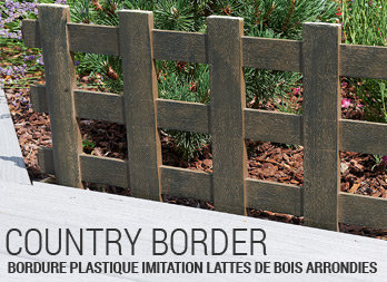 Bordure plastique imitation lattes de bois arrondies