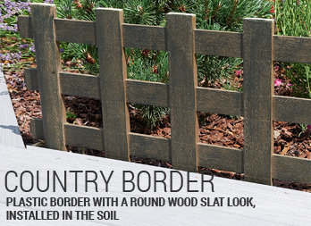 Plastic border with a round wood slat look, installed in the soil
