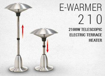 2100W telescopic electric terrace heater.