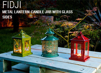 Metal lantern-candle jar with glass sides