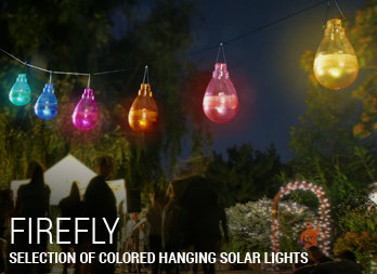 Selection of colored hanging solar lights