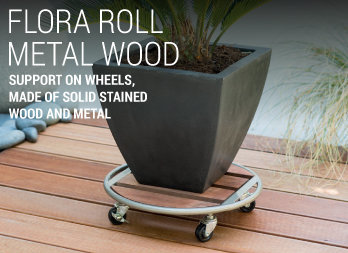 Support on wheels, made of solid stained wood and metal