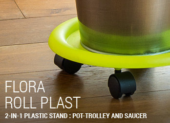 2-in-1 plastic stand : pot-trolley and saucer
