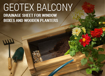 Drainage sheet for window boxes and wooden planters