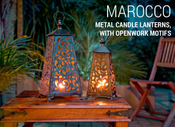 Metal Candle lanterns, with openwork motifs