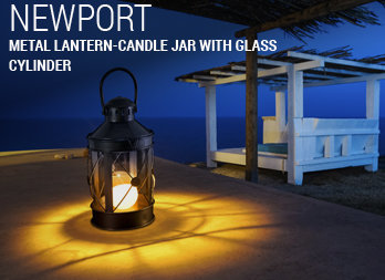 Metal lantern-candle jar with glass cylinder