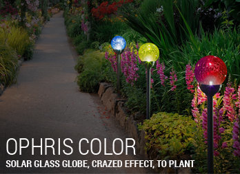 Solar coloured glass globe, crazed effect, to plant