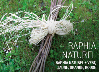 Raphia naturel + vert, jaune, orange, rouge