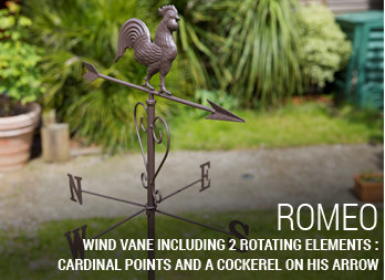 Wind vane with cardinal points and a cockerel on his arrow