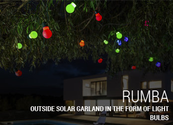 Outside solar garland in the form of light bulbs