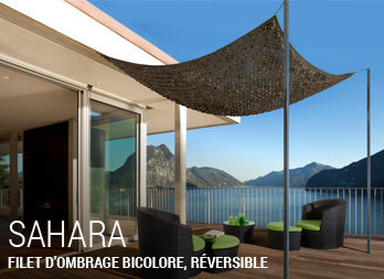 Filet d 39 ombrage bicolore r versible nortene for Filet camouflage terrasse