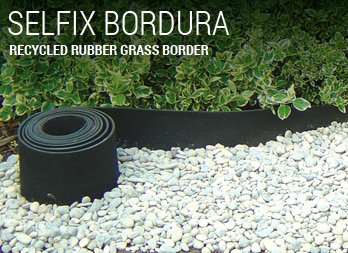 Recycled rubber grass border