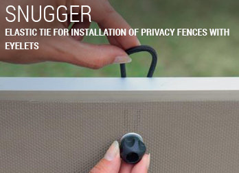 Elastic tie for installation of privacy fences with eyelets