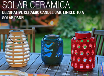 Decorative ceramic candle jar, linked to a solar panel