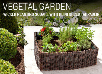 Wicker planting square with reinforced tarpaulin