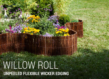 Unpeeled flexible wicker edging