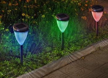 Balise solaire à planter , éclairage multicolore rayonnant ...