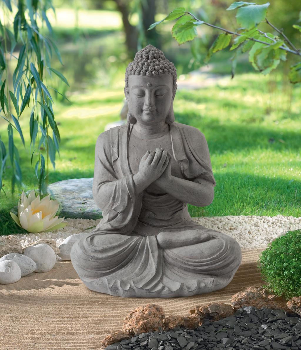Buddha statue en fibre de verre et argile nortene - Buda jardin ...